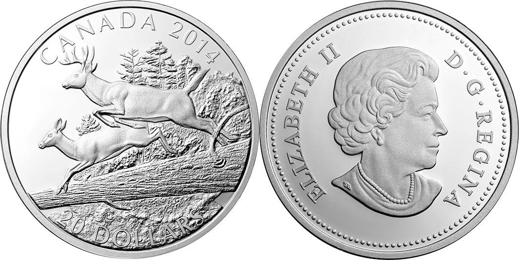 20 DOLLAR 2014 KANADA WEISSWEDELHIRSCH: HIRSCH UND HIRSCHFRAU PP