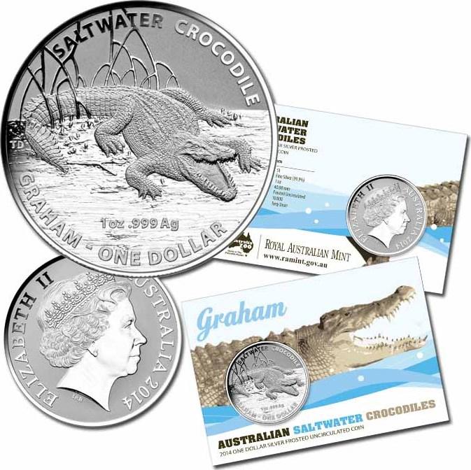 1 Dollar 2014 AUSTRALIEN SALZWASSERKROKODIL GRAHAM - 1 UNZE SILBER ST