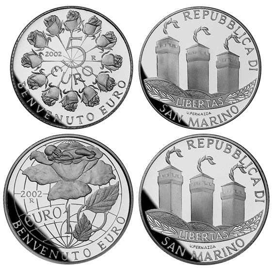 5 EURO + 10 EURO 2002 SAN MARINO ERSTE 5 EURO + 10-EURO-MÜNZE VON SAN MARINO - WILLKOMMEN EURO IM ORIGINALETUI PP