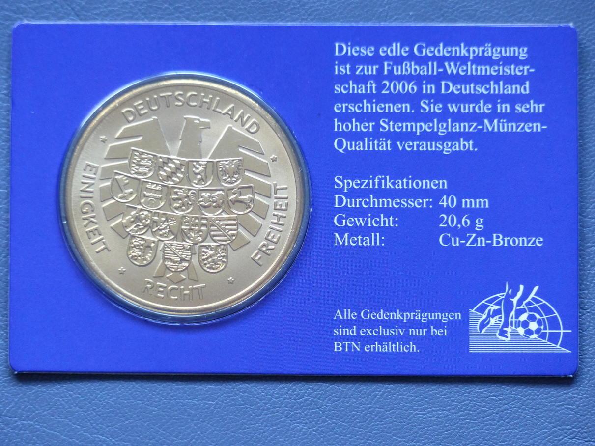 2006 Deutschland Gedenkprägung Zur Fussball Weltmeisterschaft 2006