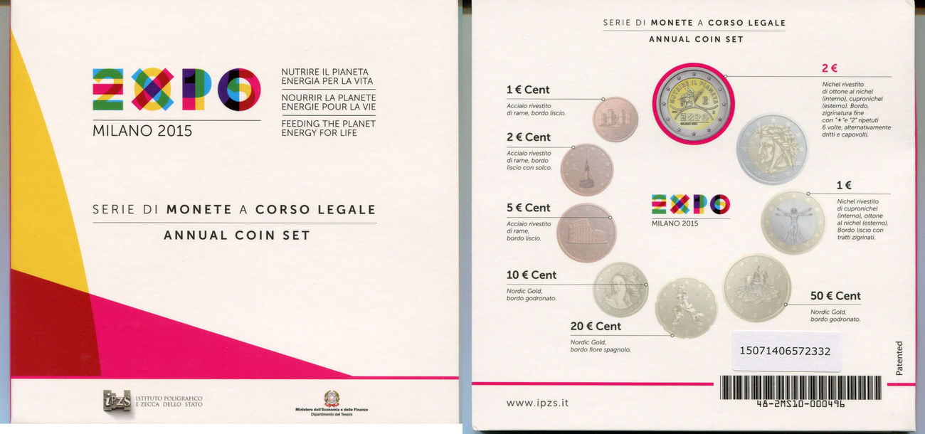 5.88 EURO 2015 ITALIEN EXPO IN MAILAND - KMS STEMPELGLANZ