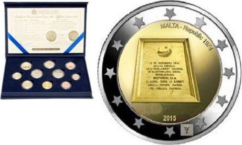 5.88 EURO 2015 MALTA KMS MIT 2 x 2-EURO - EINES MIT MÜNZZEICHEN - DIES WURDE NICHT EINZELN AUSGEGEBEN ST