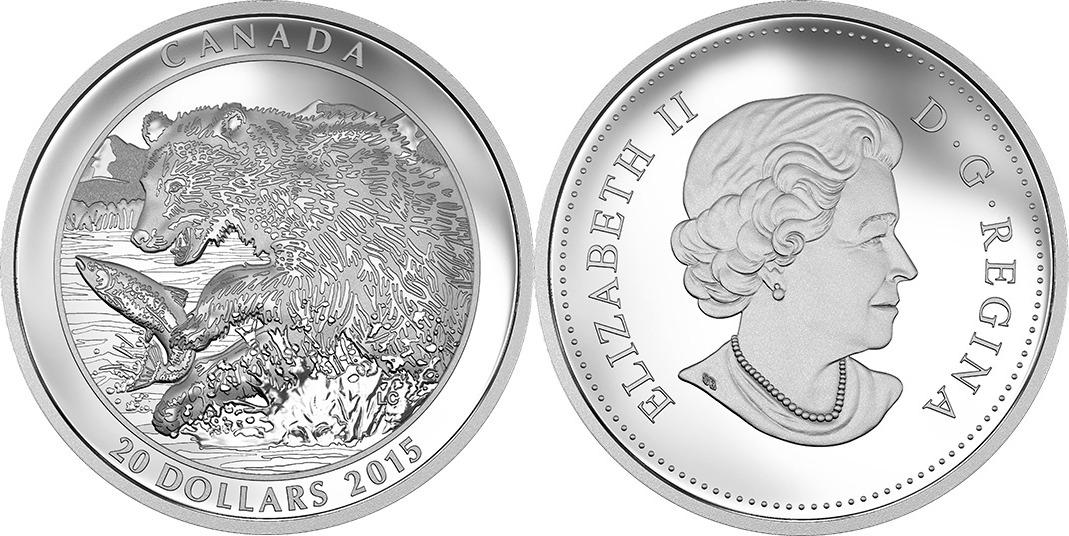 20 DOLLAR 2015 KANADA GRIZZLY BÄR - DER FANG PP