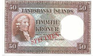 50 kronur 1928 ICELAND SPECIMEN. UNC