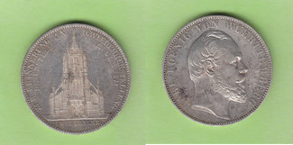 Doppeltaler 1871 Württemberg Ulmer Münster, selten vz/vz-st, leichte Kratzer