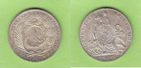 Guatemala Peso mit Gegenstempel 1/2 Real auf Peru Sol 1889