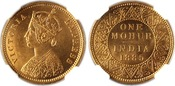 1885-C British India Victoria Gold Mohur NGC MS63