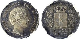 1832 Greece Othon I Silver Drachma NGC MS61