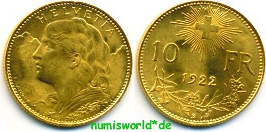 10 Franken 1922 Schweiz Schweiz 10 Franken 1922 Vz Ma Shops