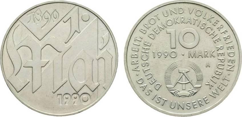 10 Mark 1990  Fast Stempelglanz