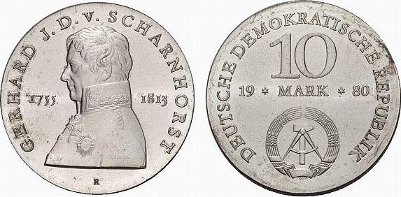 10 Mark 1980  Fast Stempelglanz