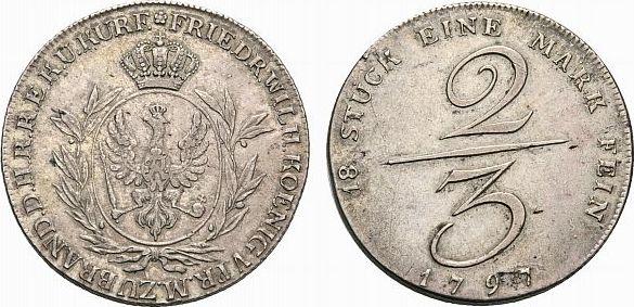 2/3 Taler 1797 Berlin Brandenburg-Preußen Friedrich Wilhelm II. 1786-1797 Winz. Schrötlingsfehler, sehr schön +