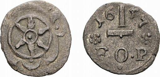 1 1/2 Pfennig 1657 Melle Osnabrück, Bistum Franz Wilhelm von Wartenberg 1625-1661 Äußerst selten. Sehr schön