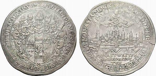 Taler 1661 Münster Münster, Bistum Christoph Bernhard von Galen 1650-1678 Selten. Kl. Schrötlingsfehler am Rand, kl. Prägeschwäche, sehr schön