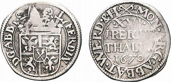 1/16 Taler 1670 Werden Werden und Helmstedt, Abteien Ferdinand von Erwitte 1670-1705 Sehr selten. Etwas gewellt, Prägeschwäche, sehr schön