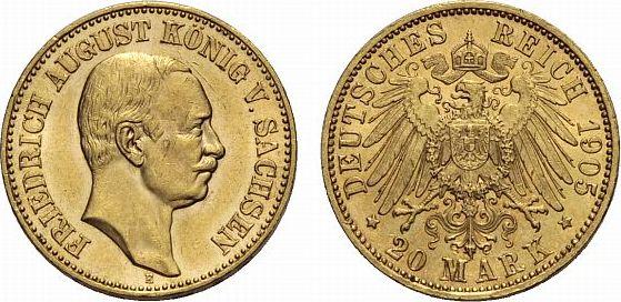 20 Mark 1905 E Sachsen Friedrich August III. 1904-1918 Vorzüglich