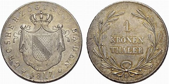 Kronentaler 1817 D Baden-Durlach Carl Ludwig Friedrich 1811-1818 Winz. Schrötlingsfehler, vorzüglich