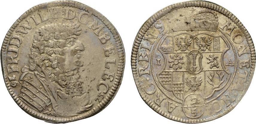 2/3 Taler 1675 IA Halberstadt Brandenburg-Preußen Friedrich Wilhelm 1640-1688 Kl. Prägeschwäche, sehr schön +