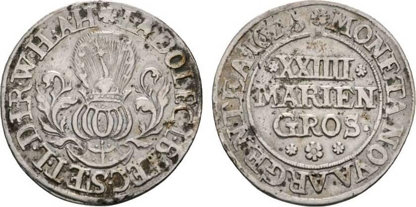 24 Mariengroschen 1675 Kirchstapel Bentheim-Tecklenburg-Rheda Johann Adolph 1674-1700 Sehr schön
