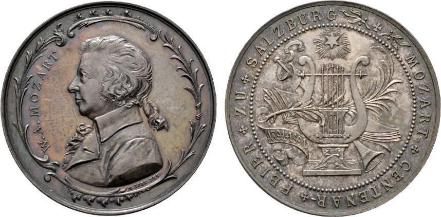 Medaille 1891 von Max Gube Musiker Mozart, Wolfgang Amadeus *1756 Salzburg, +1791 Wien Sehr selten. Schöne Patina. Vorzüglich - Stempelglanz