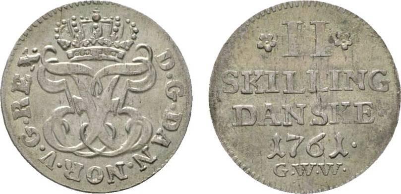 2 Skilling 1761 GWW Dänemark Frederik V., 1746-1766 Vorzüglich +