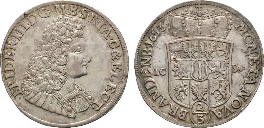 2/3 Taler 1693 ICS Magdeburg Brandenburg-Preußen Friedrich III. 1688-1701 Winz. Schrötlingsfehler, fast vorzüglich