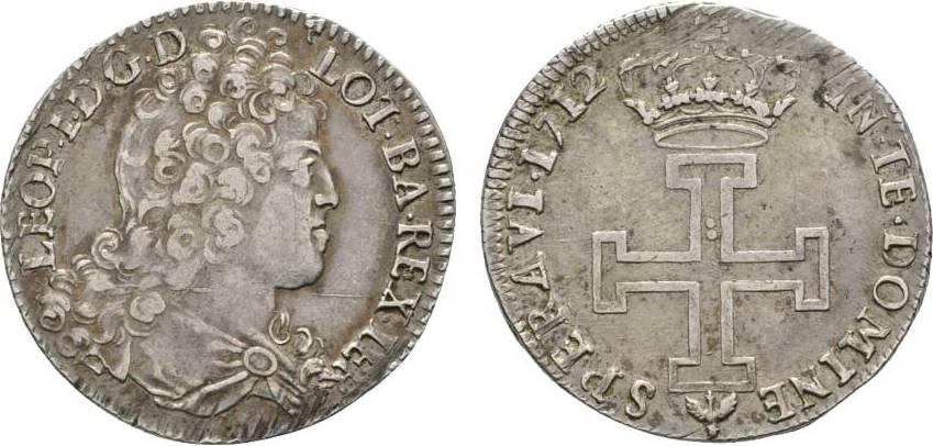 Teston 1712 Nancy Frankreich-Lothringen Leopold Joseph 1690-1729 Winz. Justierspuren am Rand, sehr schön