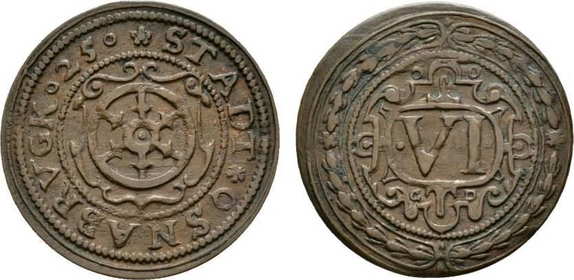 Cu 6 Pfennig 1625 Osnabrück, Stadt Sehr schön +