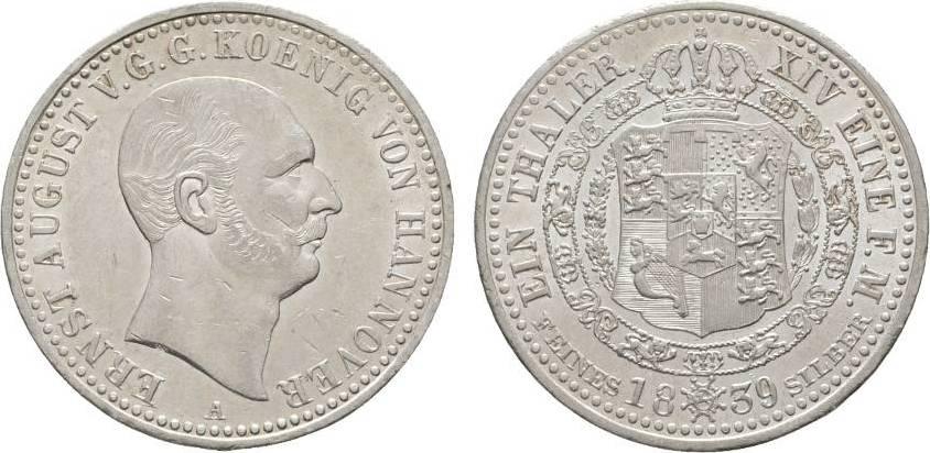 Taler 1839 A Braunschweig-Calenberg-Hannover Ernst August 1837-1851 Winz. Kratzer, vorzüglich