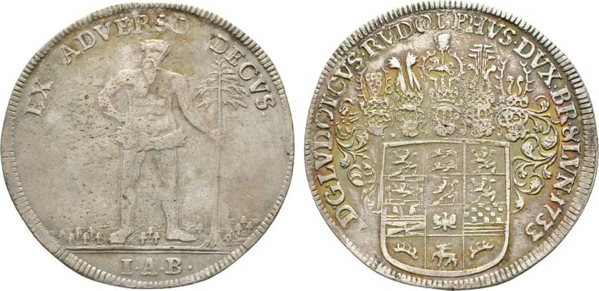 Taler 1733 IAB Zellerfeld Braunschweig-Wolfenbüttel Ludwig Rudolph 1731-1735 Winz. Schrötlingsfehler, sehr schön