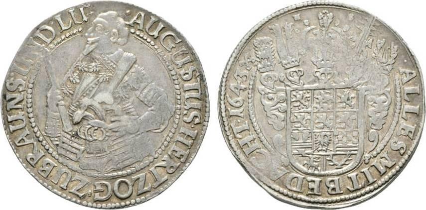 Taler 1643 HS Zellerfeld Braunschweig-Wolfenbüttel August der Jüngere 1635-1666 Selten. Kl. Prägeschwäche, sehr schön - vorzüglich
