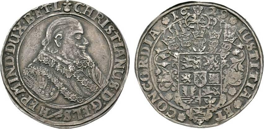 Taler 1629 HS Clausthal Braunschweig-Lüneburg-Celle Christian von Minden 1611-1633 Sehr schön