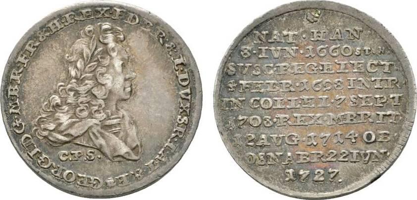 1/4 Taler 1727 CPS Clausthal Braunschweig-Calenberg-Hannover Georg I. 1714-1727 Sehr schön - vorzüglich