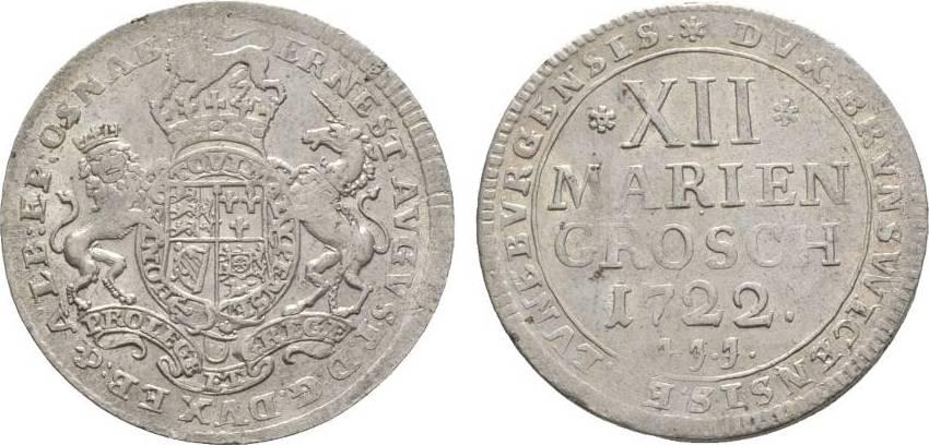 12 Mariengroschen 1722 JJJ Osnabrück Osnabrück, Bistum Ernst August II. von York 1716-1728 Selten. Kl. Prägeschwäche, sehr schön - vorzüglich
