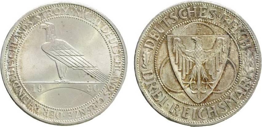 3 Reichsmark 1930 F  Fast Stempelglanz