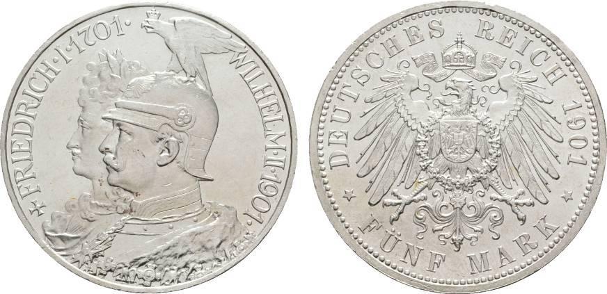5 Mark 1901 Preußen Wilhelm II. 1888-1918 Vorzüglich +
