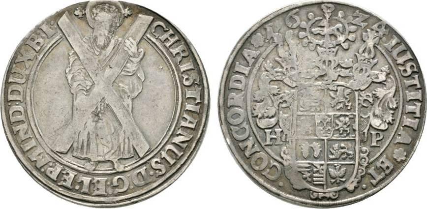 Ausbeutetaler 1624 HP Andreasberg Braunschweig-Lüneburg-Celle Christian von Minden 1611-1633 Winz. Schrötlingsfehler, sehr schön