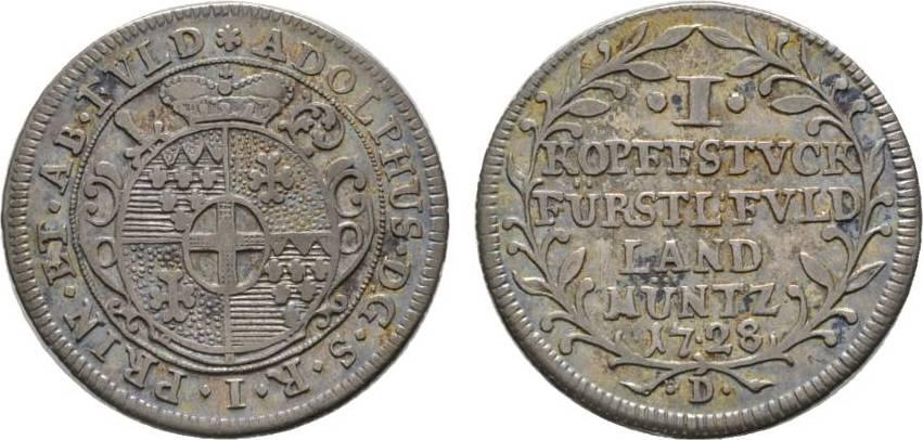 Kopfstück 1728 Fulda, Bistum Adolf von Dalberg 1726-1737 Selten. Sehr schön +