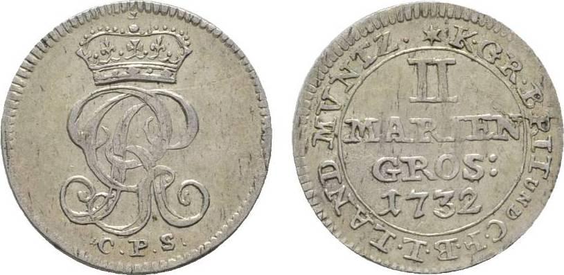 2 Mariengroschen 1732 CPS Clausthal Braunschweig-Calenberg-Hannover Georg II. 1727-1760 Sehr schön - vorzüglich