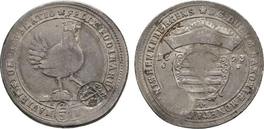 2/3 Ausbeutetaler 1693 BA Ilmenau Henneberg, Grafschaft Gemeinschaftsprägungen nach der Teilung 1691-1702 Selten. Sehr schön