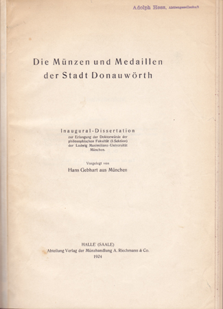 Mittelalter und Neuzeit Gebhart, Dr. phil Hans Halbleder