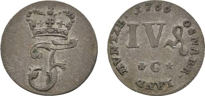 4 Pfennig 1766 C Hannover Osnabrück, Bistum Friedrich von York 1764-1802 Sehr schön