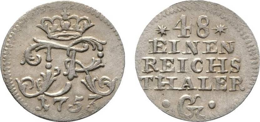 1/48 Taler 1753 G, Stettin Brandenburg-Preußen Friedrich II. 1740-1786 Sehr selten. Sehr schön - vorzüglich