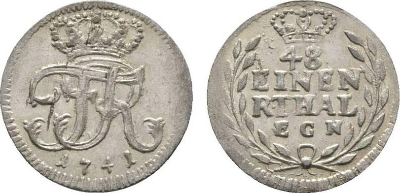 1/48 Taler 1741 EGN Berlin Brandenburg-Preußen Friedrich II. 1740-1786 Winz. Schrötlingsfehler, vorzüglich