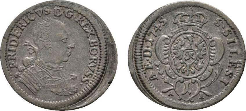 Kreuzer 1745 AE Breslau Brandenburg-Preußen Friedrich II. 1740-1786 Sehr selten. Sehr schön - vorzüglich