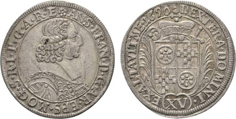 15 Kreuzer 1690 AD Erfurt Mainz, Erzbistum Anselm Franz Freiherr von Ingelheim 1679-1695 Winz. Schrötlingsfehler, sehr schön +