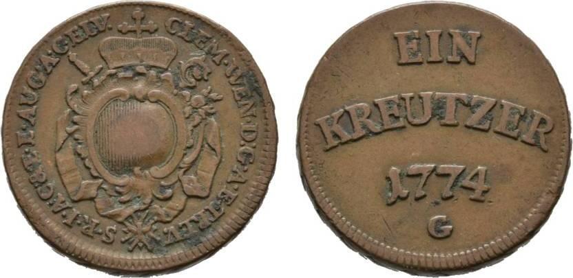Cu Kreuzer 1774 G Günzburg Augsburg, Bistum Clemens-Wenzel von Sachsen-Polen 1768-1803 Sehr schön +