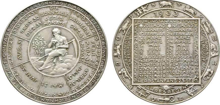 Medaille 1933 von Josef Prinz Kalender- und Neujahrsmedaillen Mattiert. Fast Stempelglanz
