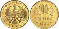 100 Schilling Gold 1933 Österreich Erste R...
