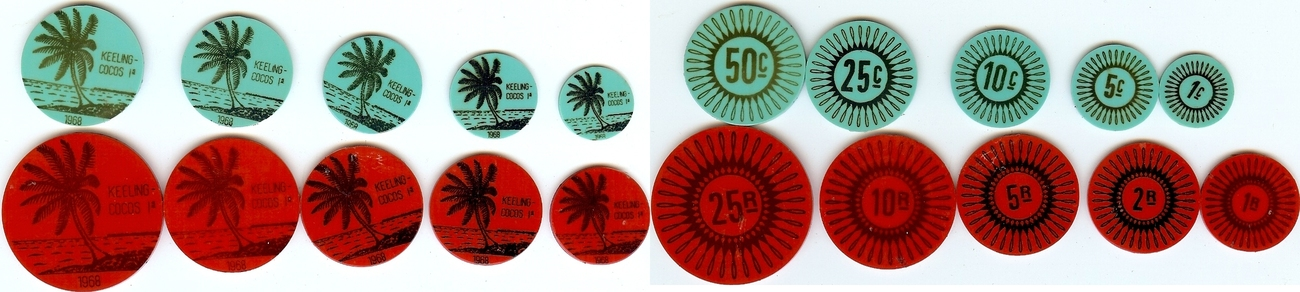 Token set 1968 Keeling cocos islands unz